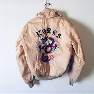 Vintage Korea Embroidered Hooded Bomber Jacket M